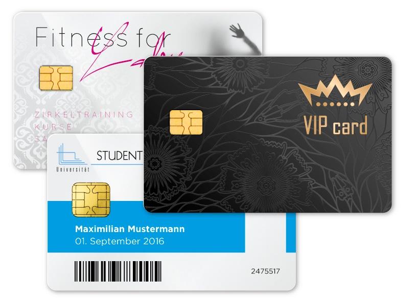Kontaktchipkarten mit Speicherchip für Kundenkarten und Prozessorchip für Ausweise