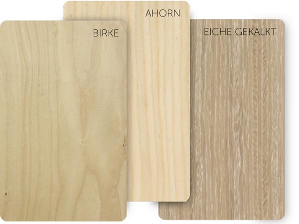 Holzkarten in 6 Holzsorten, Birke, Ahorn, Weißeiche, Eiche, Teak, Wenge