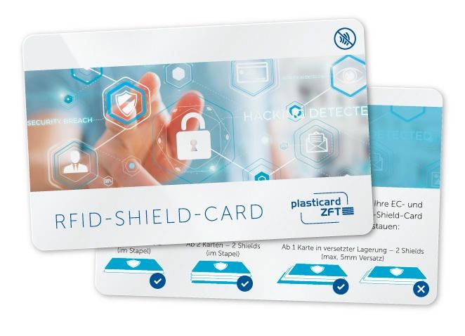 RFID Shield Card mit individuellem Bedruck und rückseitiger Erklärung