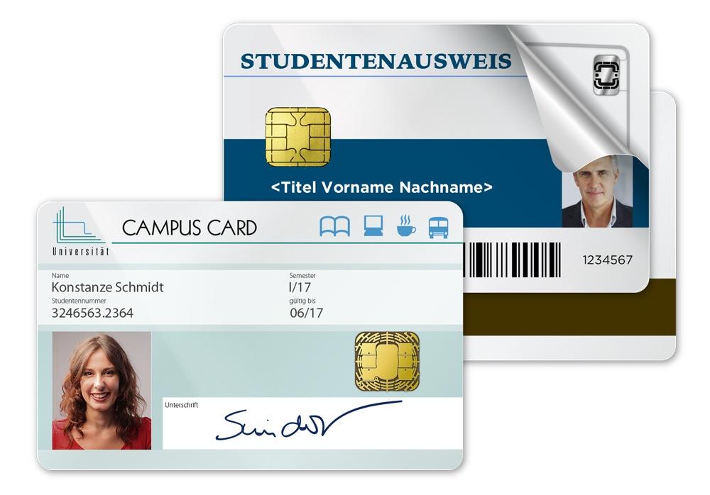 unterschiedliche Studierendenausweise mit Kontaktchip, Barcode, Magnetstreifen und RFID