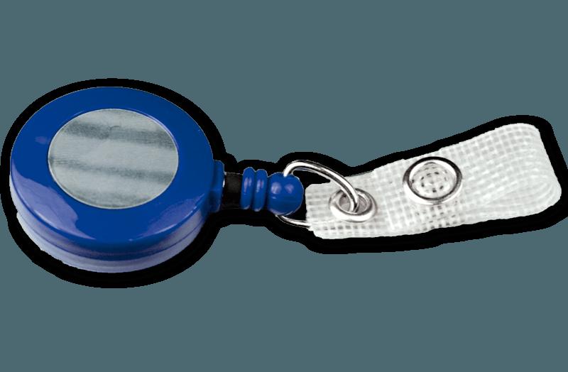 Ausweisjojo blau mit textilverstärkter Druckknopflasche