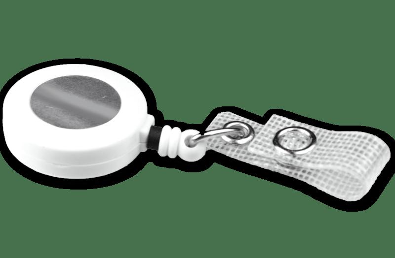 Ausweisjojo weiß mit textilverstärkter Druckknopflasche