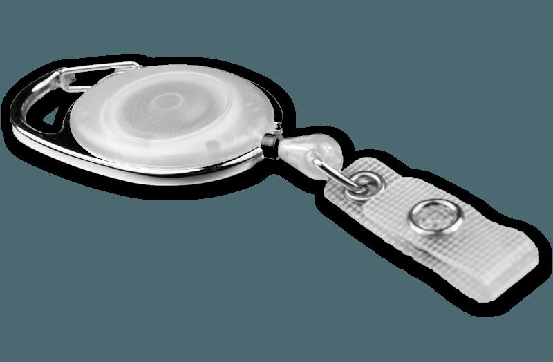 Ausweisjojo transparent mit textilverstärkter Druckknopflasche
