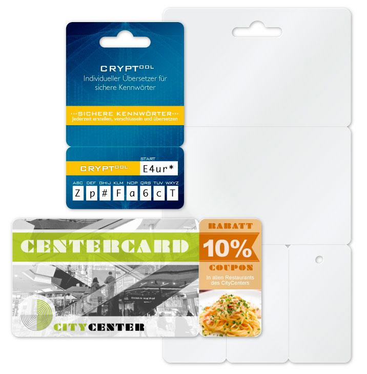 Abbrechkarten als Gutschein, Coupon, Schlüsselfilder und Minikarten zum abbrechen