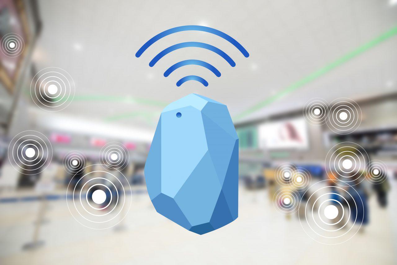 abstakter Beacon im EInkaufszentrum mit Funkwellen