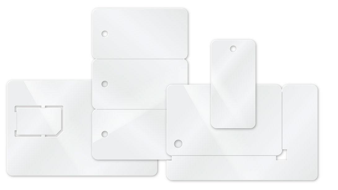 Minikarten als SIM VISA-Minikarte, Key-Tag Karte