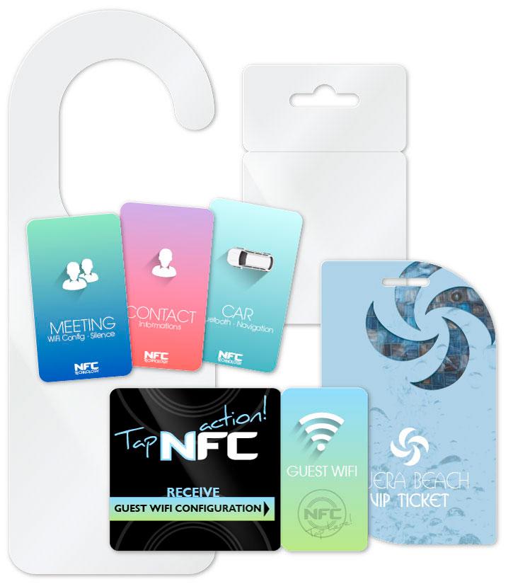 Freiformatkarten als Türanhänger/Spiegelanhänger, NFC Tag und Abbrechbarkarte