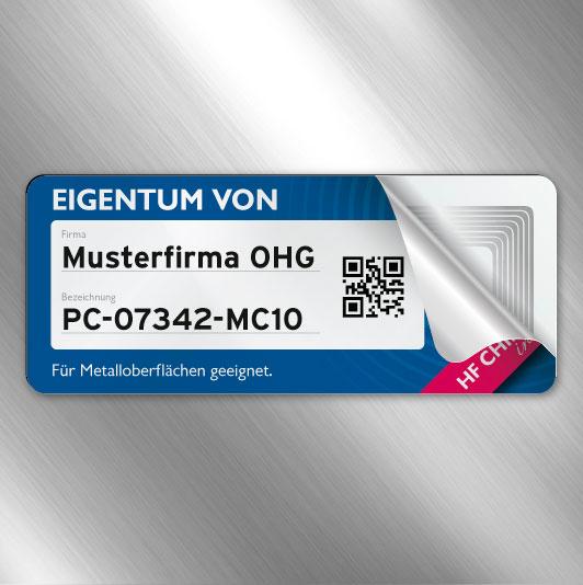 RFID-Label auf Metalloberfläche
