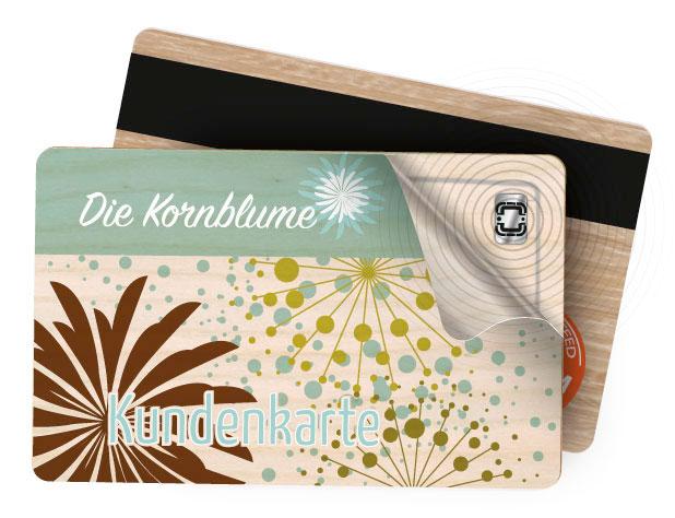 bedruckte Kundenkarte aus Holz mit eingebettetem RFID Chip
