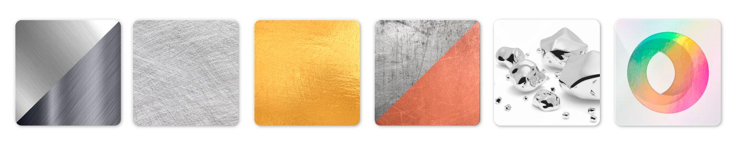 Unterschiedliche Texturen, gebürstetes Aluminium, Gold, Silber, Chrom, Kupfer, erodiert, poliert