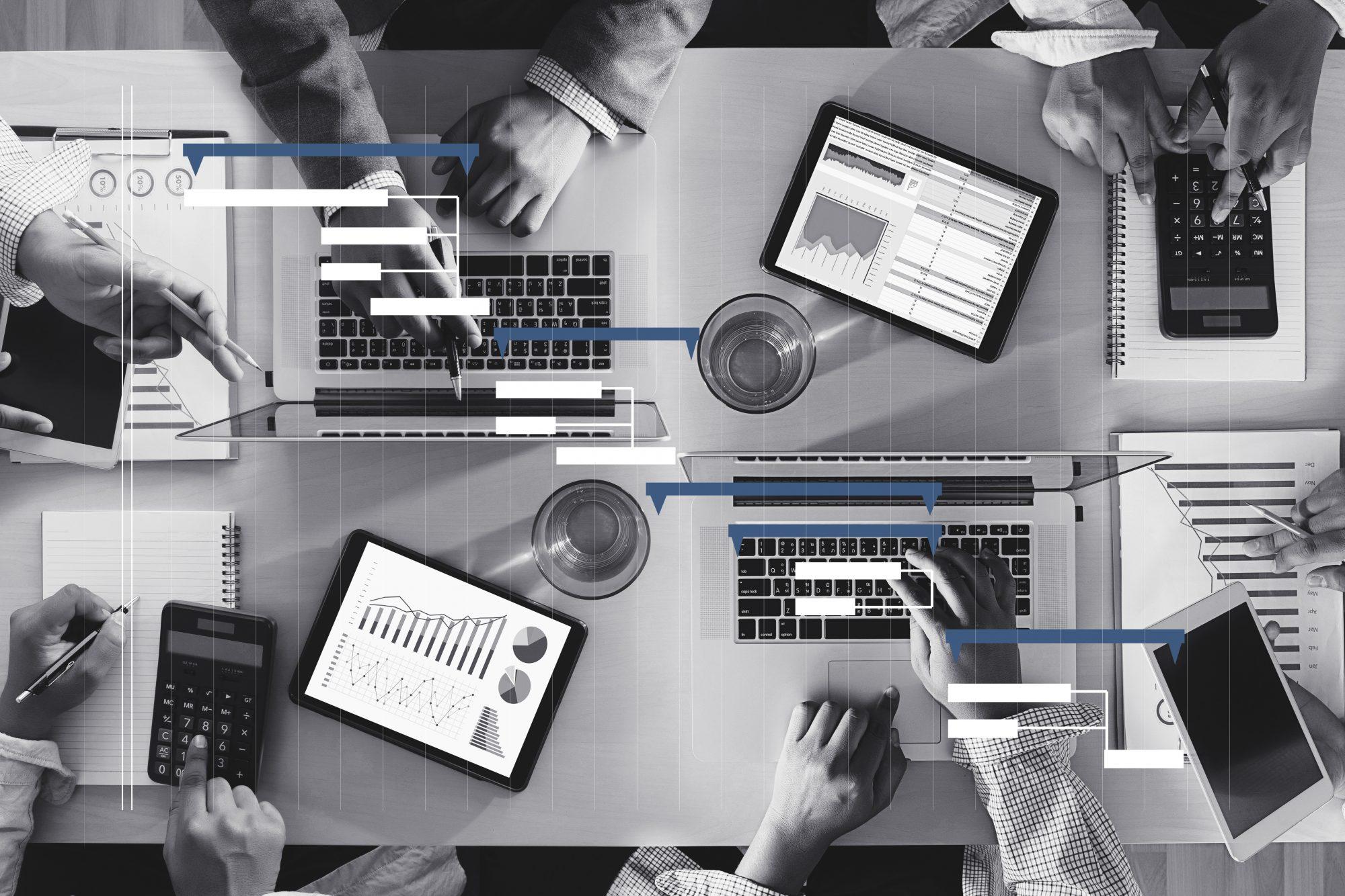 Laptops mit Gantt Chart