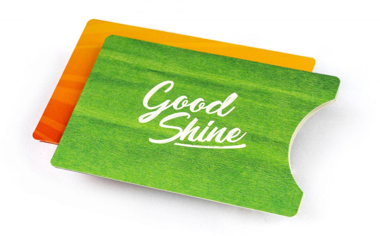 bedruckte Kartonschuber für Karten in grün und orange
