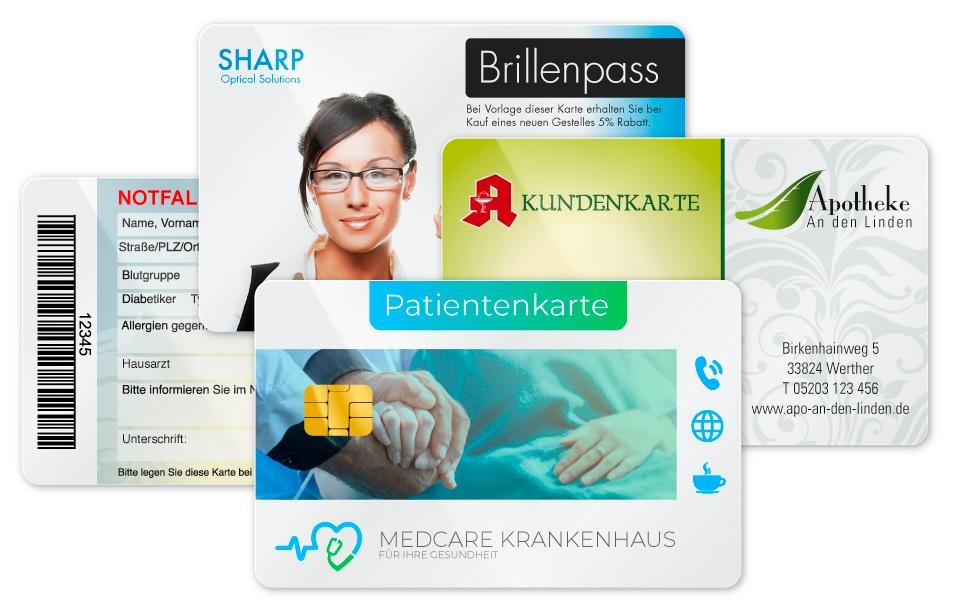 Apothekenkundenkarte, Patientenkarte, Notfallpass und Brillenpass
