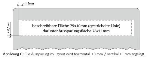 Darstellung Schreibfeld Segment im Standardformat